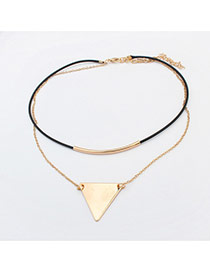 Elegant Black+gold Color Triangle Shape Decorated Double Layer Simple Necklace