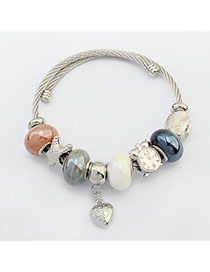 Fashion Khaki Hear&beads Pendant Decorated Color Matching Bracelet