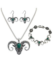 Vintage Green Ox-head Shape Pendant Decorated Simple Jewelry Sets
