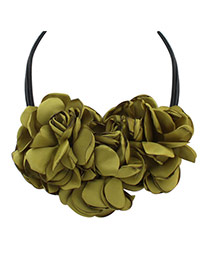 Bohemia Olive Green Pure Color There Flower Decorated Multilayer Necklace