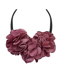 Bohemia Pink Pure Color There Flower Decorated Multilayer Necklace