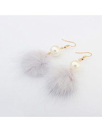 Elegant Light Gray Hairy Ball Shape Pendant Decorated Pure Color Earring