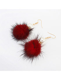 Elegant Red Hairy Ball Shape Pendant Decorated Pure Color Earring