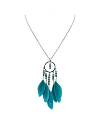 Fashion Green Feather Pendant Decorated Round Shape Design Simple Necklace