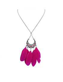 Fashion Purple Feather Pendant Decorated Hollow Out Crescent Moon Shape Simple Necklace