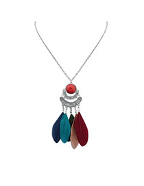 Fashion Multi-color Feather Pendant Decorated Crescent Moon Shape Simple Necklace