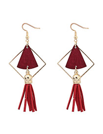 Fashion Red Fan Shape Decorated Hollow Out Tassel Simple Earrings