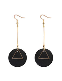 Fashion Black Round Shape Pendant Decorated Simple Earrings