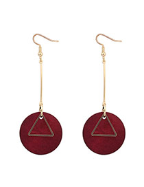 Fashion Red Round Shape Pendant Decorated Simple Earrings