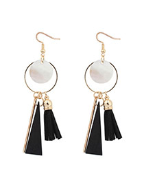 Sweet Black Round Shape Pendant Decorated Simple Tassel Earrings