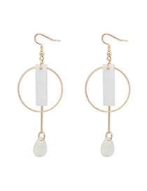 Sweet White Geometric Shape Decorated Hollow Out Simple Earrings