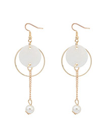 Fashion White Round Shape Decorated Simple Hollow Out Simple Earrings