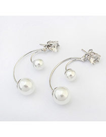 Fashion Silver Color Diamond Decorated Pure Color Bend Earrings