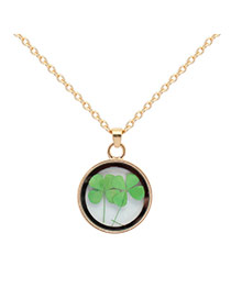 Fashion Green Clover Shape Decorated Simple Long Chain Necklace