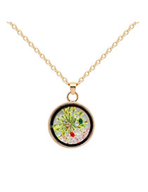 Fashion Multi-color Flower Decorated Simple Long Chain Necklace