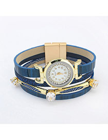 Elegant Blue Diamond Decorated Multilayer Watch