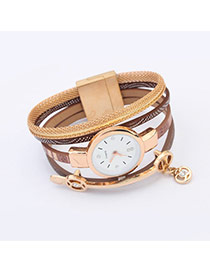 Elegant Khaki Hollow Out Round Pendant Decorated Mutilayer Watch