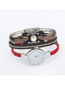 Elegant Red Bowkont Shape Decorated Multilayer Watch