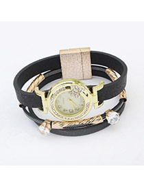 Fashion Black Double Diamond Decorated Multilayer Watch