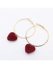 Sweet Red Heart Shape Pendant Decorated Simple Earring