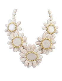 Fashion White Beads Decorated Flower Shape Design Necklace