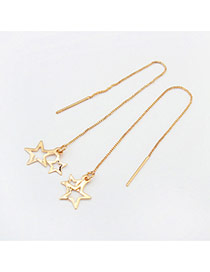 Fashion Gold Color Star Pendant Decorated Pure Colr Design Earrings