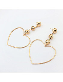 Fashion Gold Color Heart Dhape Pendant Decorated Pure Color Earrings
