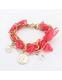 Fashion Plum Red Girl Pattern Decorated Color Matching Design Bracelet
