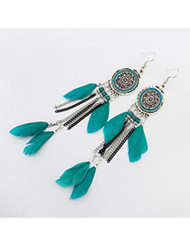 Bohemia Green Feather&metal Chain Pendant Decorated Simple Earrings