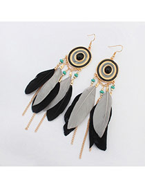 Bohemia Black+gray Metal Round Shape Decorated Feather Simple Earrings