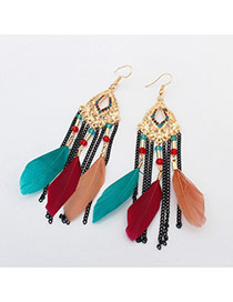 Bohemia Multi-color Feather &chain Pendant Decorated Simple Earrings