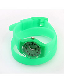Elegant Light Green Pure Color Decorated Double Layer Simple Watch