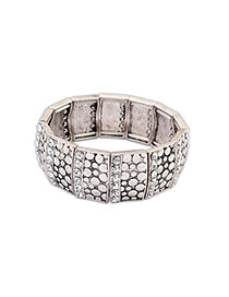Fashion Antique Silver+white Round Shape Diamond Decorated Color Matching Bracelet