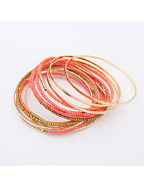 Fashion Orange Beads Decorated Multi-layer Color Matching Bracelet