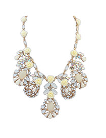 Fashion Yellow Flowers&diamond Decorated Pure Color Simple Necklace