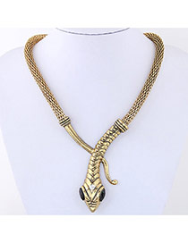 Personality Gold Color Snake Shape Decorated Pure Color Simple Necklace