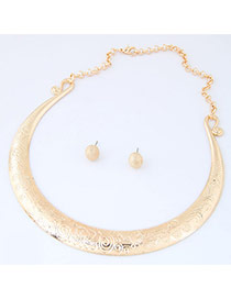 Fashion Gold Color Pure Color Decorated Simple Short Chain Jewelry Sets
