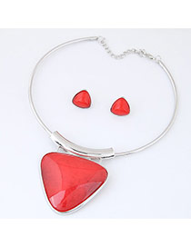 Exaggerate Red Triangle Shape Pendant Decorated Simple Jewelry Set