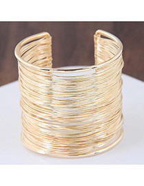 Fashion Gold Color Pure Color Decorated Simple Opening Bracelet