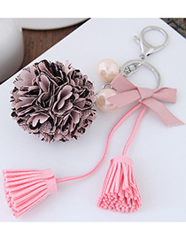 Elegant Pink Tassel&bowknot Pendant Decorated Simple Key Ring