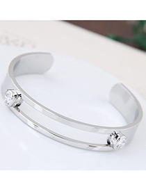 Fashion Silver Color Round Shape Diamond Decorated Simple Hollow Out Opening Bracelet