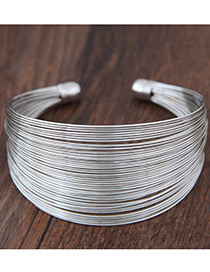 Fashion Silver Color Pure Color Decorated Multilayer Opening Bracelet
