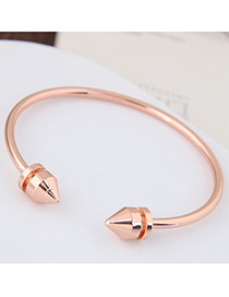 Fashion Gold Color Circular Cone Shape Decorated Simple Pue Color Opening Bracelet