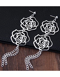 Fashion Silver Color Hollow Out Rose Decorated Simple Pure Color Earrings