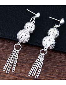 Fashion Silver Color Tassel Decorated Simple Pure Color Simple Earrings