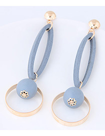 Personality Light Blue Round Shape Pendant Decorated Simple Long Chain Earrings