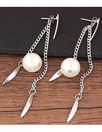 Bohemia Silver Color Metal Leaf Decorated Simple Long Chain Earrings