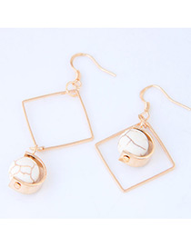 Bohemia Gold Color Square Shape Decorated Simple Hollow Out Earrings