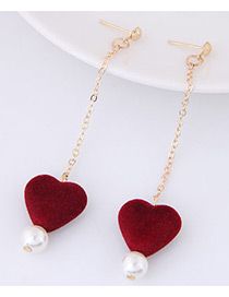 Lovely Red Heart Shape Pendant Decorated Simple Long Chain Earrings