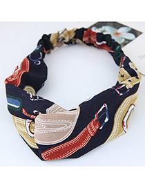 Fashion Multi-color Painted Design Decorated Simple Wide Hair Band